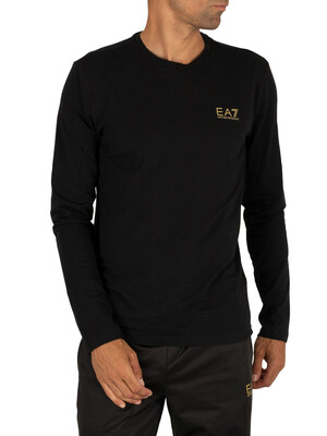 EA7 Longsleeved Chest Logo T-Shirt - Black