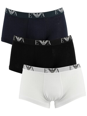 Emporio Armani 3 Pack Trunks - White/Black/Navy