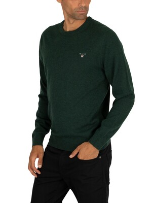 Gant Superfine Lambswool Knit - Tartan Green