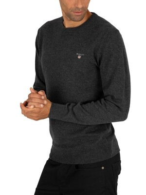 Gant Superfine Lambswool Knit - Anthracite Melange