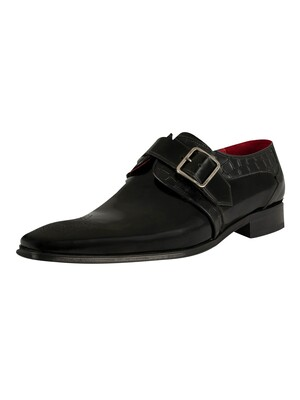 Jeffery West Scarface Shoes - Black Polish/Croco