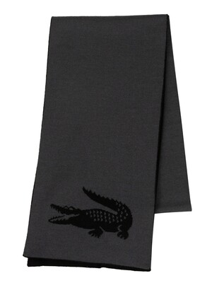 Lacoste Jacquard Crocodile Reversible Scarf - Black/Grey