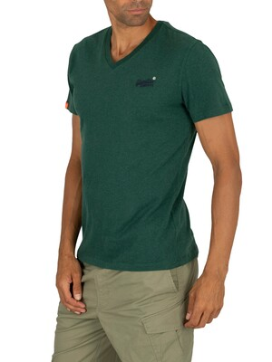 Superdry Orange Label Vintage Embroidery V- Neck T-Shirt - Buck Green Marl