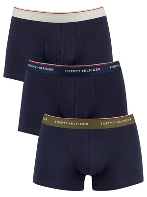 Tommy Hilfiger 3 Pack Premium Essentials Trunks - Olive Night/Peacoat/Glacier Gray