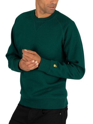 Carhartt WIP Chase Sweatshirt - Dark Fir/Gold