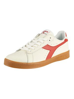 Diadora Game Low Leather Trainers - White/Molten Lava