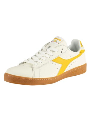 Diadora Game Low Leather Trainers - White/Yellow Freesia