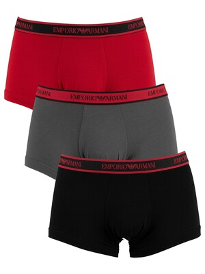 Emporio Armani 3 Pack Trunks - Black/Anthracite/Ruby