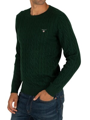 Gant Cotton Cable Sweatshirt - Tartan Green