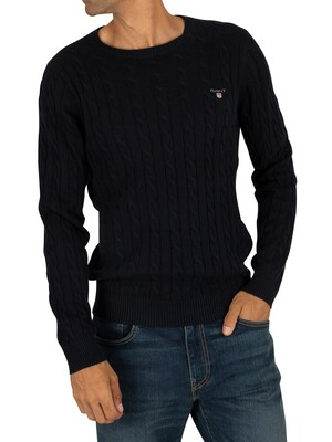 Gant Cotton Cable Sweatshirt - Evening Blue