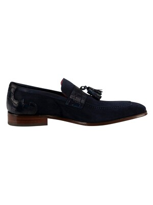 Jeffery West Suede Croco Loafers - Dark Blue