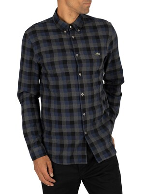 Lacoste Check Shirt - Navy/Grey