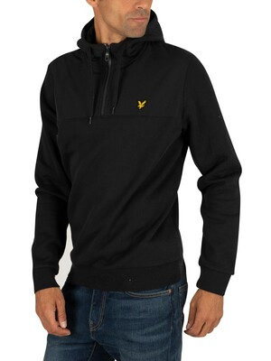 Lyle & Scott Softshell Jersey 1/4 Hoodie - True Black