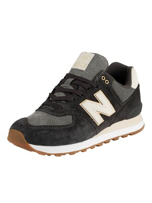 New Balance 574 Suede Trainers - Black/Grey
