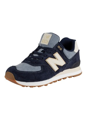 New Balance 574 Suede Trainers - Navy