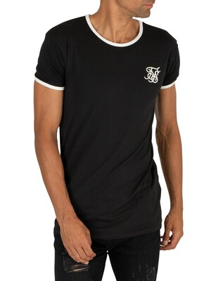 Sik Silk Straight Hem Ringer T-Shirt - Black/White