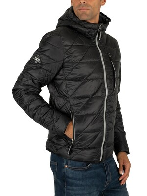 Superdry Diagonal Quilt Fuji Jacket - Jet Black