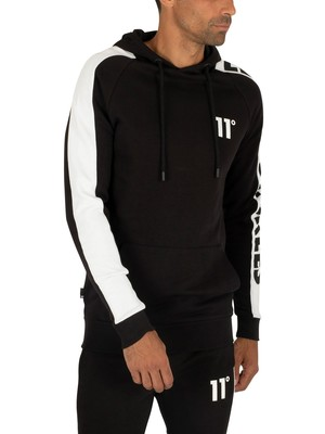 11 Degrees Odin Text Hoodie - Black