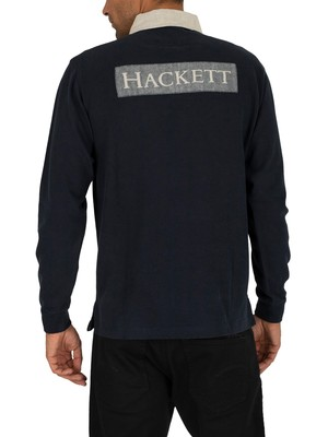 Hackett London Archive Rugby Longsleeved Polo Shirt - Navy