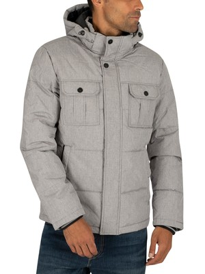 Jack & Jones Will Puffer Jacket - Light Grey Melange