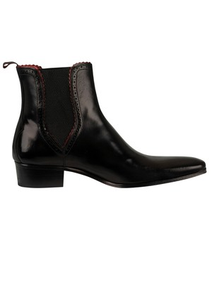 Jeffery West Carlito Chelsea Leather Boots - Black Polish