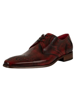 Jeffery West Scarface Leather Brogue Shoes - Red Polish