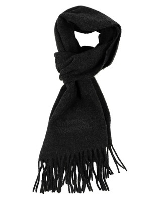 Vivienne Westwood Wool Embroidery Scarf - Anthracite