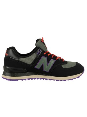 New Balance 574 Leather Trainers - Black/Green