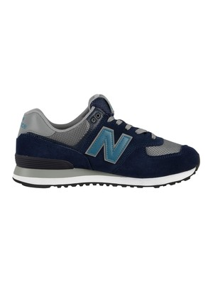 New Balance 574 Suede Trainers - Pigment/Gunmetal