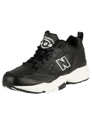 New Balance 608 Leather Trainers - Black/White
