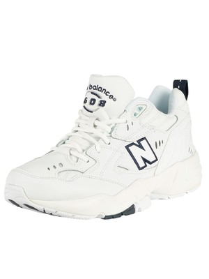 New Balance 608 Leather Trainers - White/Navy