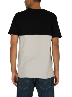 Nicce London Panel T-Shirt - Black/Stone Grey