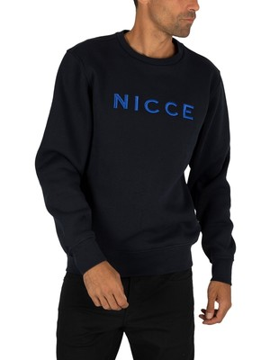 Nicce London Rhodium Sweatshirt - Deep Navy/Cobalt Blue