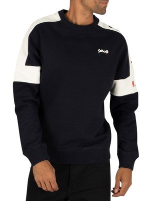 Schott Logo Sweatshirt - Navy/Off White