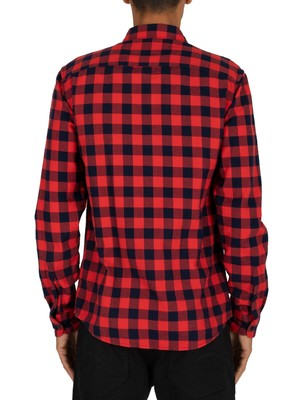 Scotch & Soda Bright Check Flannel Shirt - Red
