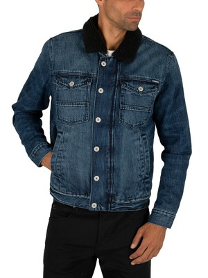 Superdry Hacienda Sherpa Denim Jacket - Spence Dark Vintage