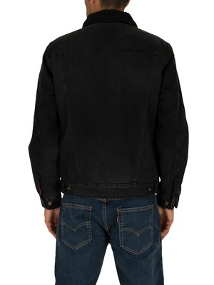 Superdry Hacienda Sherpa Denim Jacket - Bode Black Worn