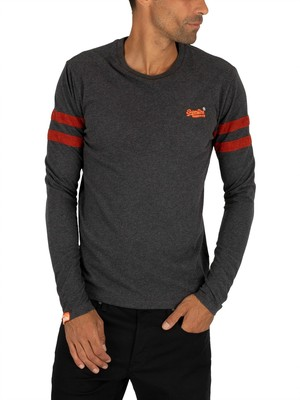 Superdry Orange Label Softball Ringer Longsleeved T-Shirt - Nordic Charcoal Marl