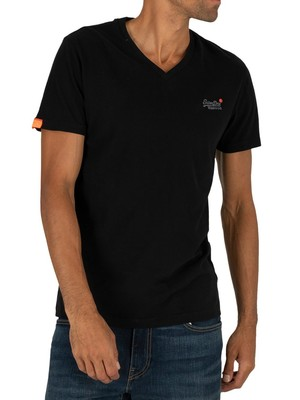 Superdry Orange Label Vintage EMB V-Neck T-Shirt - Black