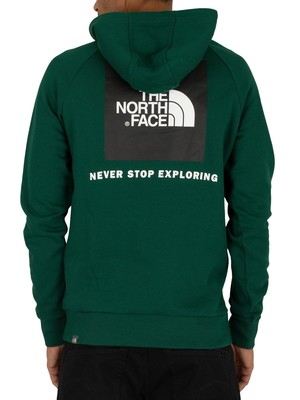 The North Face Raglan Red Box Pullover Hoodie - Night Green