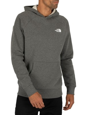 The North Face Raglan Red Box Pullover Hoodie - Medium Grey