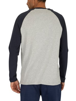 Tommy Jeans Raglan Longsleeved T-Shirt - Black Iris Navy/Light Grey Heather