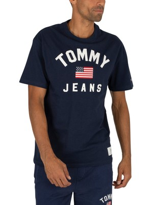 Tommy Jeans USA Flag T-Shirt - Black Iris Navy