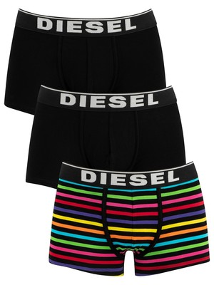 Diesel Damien Instant Looks 3 Pack Trunks - Stripe/Navy/Black