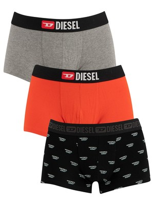 Diesel Damien Instant Looks 3 Pack Trunks - Graphic/Red/Grey