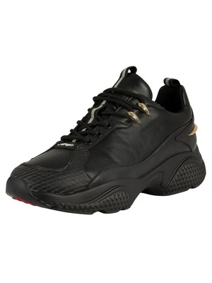 Ed Hardy Hook Runner Leather Trainers - Black/Gold
