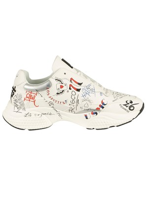Ed Hardy Insert Runner Doodle Leather Trainers - White