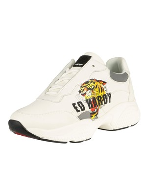 Ed Hardy Insert Runner Tiger Leather Trainers - White