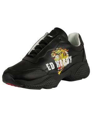 Ed Hardy Insert Runner Tiger Leather Trainers - Black