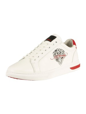 Ed Hardy Pop Low Top Leather Trainers - White/Red